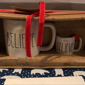 Rae Dunn Christmas Mug and Ornament Set Believe